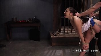 Slave beauty gets training on big cock